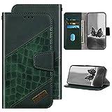 Kompatibel mit Samsung Galaxy A11/M11 Hülle Leder Tasche Flip Case Glänzend Brieftasche Schutzhülle,Nähdesign Krokodil Leder Klapphülle Handyhülle mit Kartenfächer,Grün