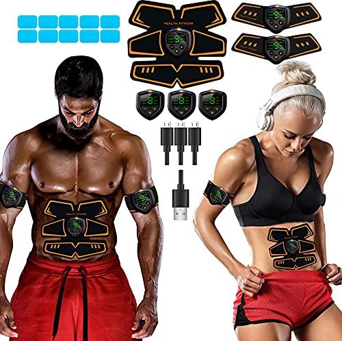 Lemeng Electroestimulador Muscular Abdominales Masajeador Eléctrico Cinturón,EMS Estimulador Abdomen/Brazo/Piernas/Cintura Entrenador Muscular, USB Recargable, 9 Niveles de Intensidad (Hombre/Mujer)