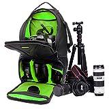 ストラップPULeather YHM DL-B016のGoPro、SJCAM、ニコン、キヤノン、小米科技Xiaoyi YI、アプリ、アップル、サムスン、Huawei社は、サイズのためのポータブル防水スクラッチプルーフアウトドアスポーツスリングショルダーバッグカメラバッグ電話タブレットバッグ:25.5 * 19 * 44センチメートル(オレンジ) (Color : Green)