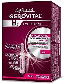 Gerovital H3 Evolution 229 ampollas con ácido hialurónico de alta concentración 5%, 30 + antiedad – 10 ampollas x 2 ml