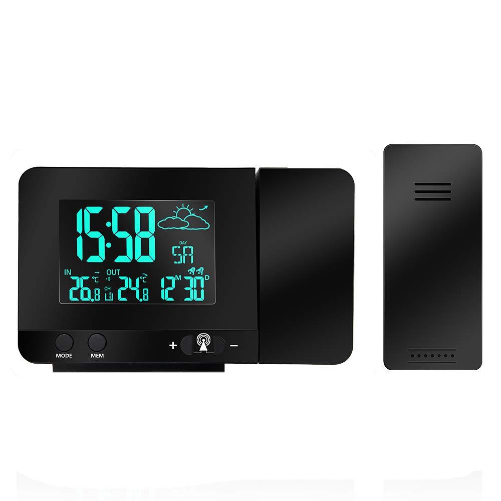 コンクリート夜明けに株式投影時計, Protmex PT3531B プロジェクター時計 投影アラームクロック ?と天気予報, ダブル目覚まし時計, 室内温度, USB電話の充電, マルチカラースクリーンディスプレイ 機能