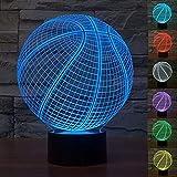 3D Illusion Baloncesto Lámpara luces de la noche ajustable 7 colores LED Creative Interruptor táctil estéreo visual atmósfera mesa regalo para Navidad
