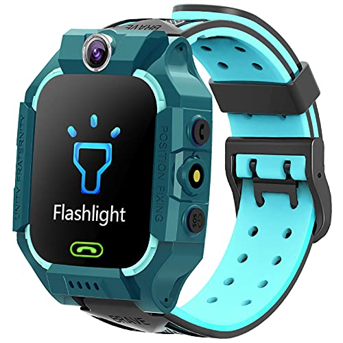EXEDSCEND Niños Smart Watch SOS es Anti perdida, Kids GPS Reloj con ubicación en Tiempo Real, Pantalla táctil Voice Chat Flashlight Juego de Alarma para 4-14 años Boys Girls Regalos,Verde
