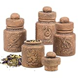 Harry Potter Ceramic Spice Jars with Hogwarts Houses, set of 4 - Store Potion Ingredients, Herbs, Spices and More - with Gryffindor, Hufflepuff, Slytherin and Ravenclaw Symbols - 1.45 oz each