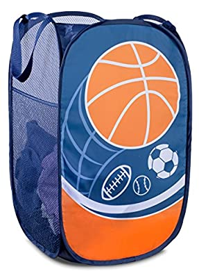 Mesh Popup Laundry Hamper - Portable, Durable Handles, Collapsible for Storage and Easy to Open. Folding Pop-Up Clothes Hampers are Great for The Kids Room, College Dorm or Travel. (Sports)