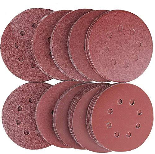 Discos de Lija Lijas de Pulir Velcro Discos de Papel 8 Agujeros Hojas de Lija ø 125 mm/5 Pulgadas Redonda Papel de Lija- 100 Piezas Grano 20x60/100/150/180/240 para Lijadoras Excéntricas