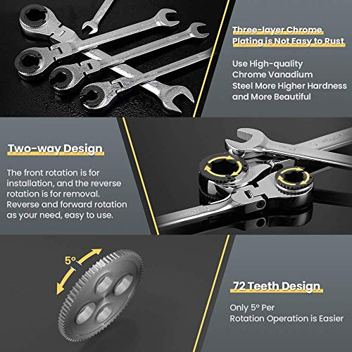Anbull Ratcheting Wrench Set with Open Flex-head,Metric Tubing Combination Wrench Set,9pcs Tubing Ratchet Wrench