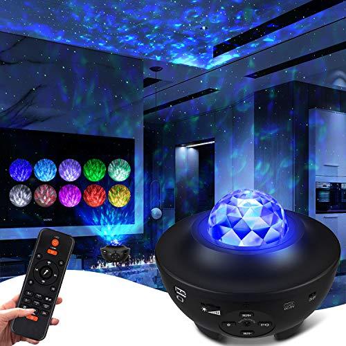 LED Sternenhimmel Projektor, Sternenlicht Projektor Sternprojektor für Schlafzimmer 10 Farben Ambiente mit Bluetooth Musiklautsprecher für Kinderzimmer für Erwachsene Geburtstag Tiefschlafzimmerparty