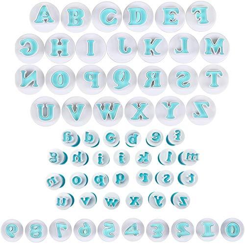 Tangger 62pcs Fondant Ausstecher Set Buchstaben und Zahlen,Ausstechformen Alphabet Wiederverwendbare Groß Alphabet Zahlen Ausstecher Fondant Backen Cupcake Schimmel Kuchen Dekorieren