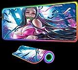 Alfombrilla de ratón Anime Girl Demon Slayer, Accesorios para Juegos RGB, Alfombrilla para Jugadores, Alfombrilla para Ordenador portátil, Teclado LED, Alfombrilla para Mesa,900x400x4 mm