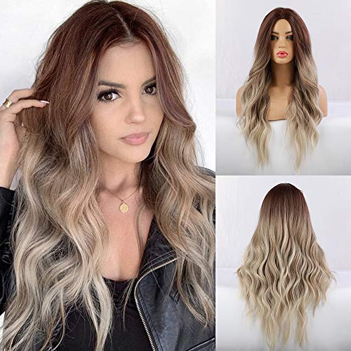 FORCUTEU Wigs for Women Ombre Wavy Wig Long Blonde Wig Blonde Wavy Wig Heat Resistant Fiber for Daily Party (Blonde)