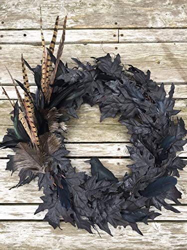 Spooky Black Crow Feather and Leaf Halloween Wreath