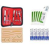 Kit completo de práctica de sutura para estudiantes de medicina, odontología y veterinaria, almohadilla de entrenamiento de silicona grande reutilizable con 14 heridas precortadas