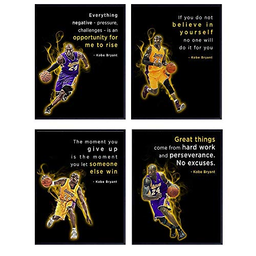 Motivational Kobe Bryant Quotes, Office Wall Decor - 8x10 Home Art, Room Decoration - Inspirational Gift for LA Lakers, Basketball, Sports Fan, Athlete, Entrepreneur - Unframed Poster Prints Set of 4