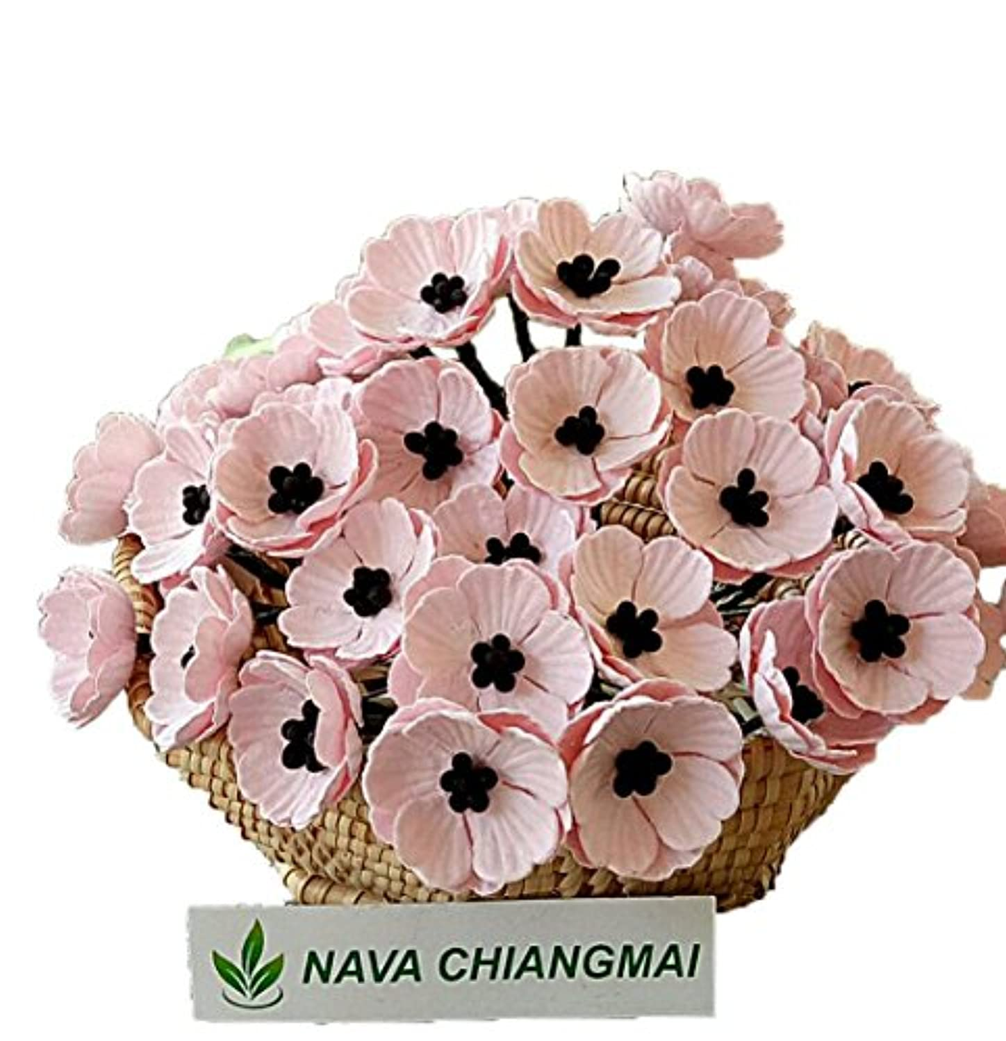NAVA CHIANGMAI Poppies Mulberry Paper Flower,Poppy Flower for Scrapbooking Wedding Doll House Supplies Card,DIY Crafts,Artificial Mulberry Paper Flowers Wedding Home Decoration. (Pink)