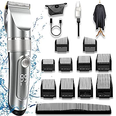 Hair Clippers Man,Hair Clippers for Kids Hair Trimmer Set Cordless Rechargeable Led Display Five Speed Adjustment Electric Hair Clippers with 10 Guide Combs