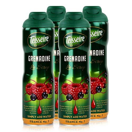 Teisseire Getränke-Sirup Grenadine 600ml - Sirup der genauso schmeckt wie die Frucht (4er Pack)