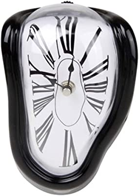 Mbd Creative L-Shaped Curved Clock Fashion Melting Clock Roman Numeral Clock Abstract Twisted Clock