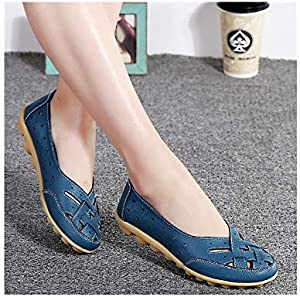 Flats for Women Comrfort Genuine Leather Flat Shoes(Light Blue,10)