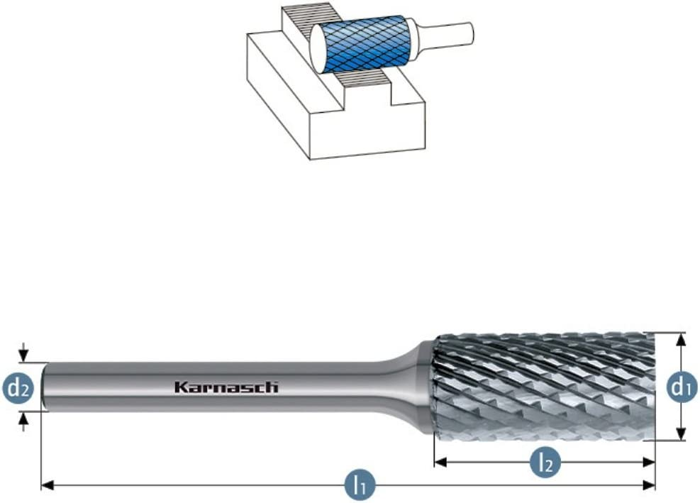 Schaft=6mm VHM Fr/ässtift Fr/äser f/ür alle Stahlsorten zum Schruppen ZYA//HP-6 Verzahnung /Ø=6mm Kopfl/änge=18mm L/änge=50mm