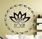YuanMinglu Autocollants muraux Lotus Autocollants en Vinyle Symbole de Remise en Forme Sports Fitness Yoga Art intérieur Peinture Murale étanche 75x75cm