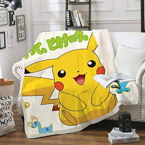 LIFUQING Jeter La Couverture Pokemon Pikachu en Peluche Jeter Canapé Coussin Yoga Couverture en Microfibre Adulte-150X200Cm