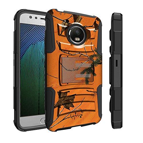 Untouchble Case for [Moto E4 Case, Motorola Moto E4 (2017)] Heavy Duty Shell Case with Built In Kickstand Rotating Heavy Duty Holster Belt - Orange Tree Camo