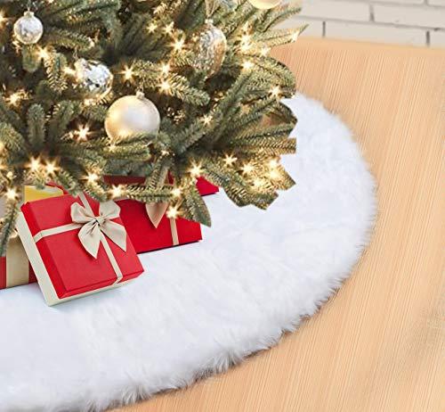 Finta Pelliccia Albero di Natale Gonna 122cm Neve Bianco Peluche Gonne Albero di Natale Copertura di Base Pelo Morbido Tappeto per Albero di Natale Decorazione Christmas Tree Skirt