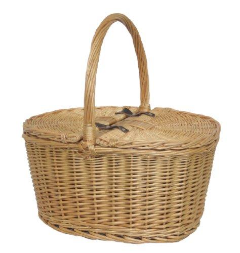 Full Buff Willow Wicker Oval Lidded Hamper Picnic Basket
