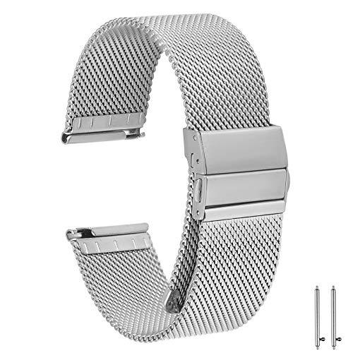 EONPOW Correas para Relojes Correa de Reloj de Acero Inoxidable Mesh 20mm
