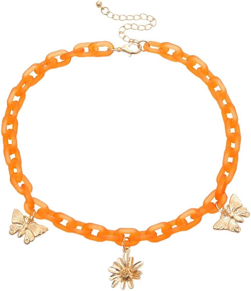 Happyyami Bohemian Tortoise Shell Acrylic Resin Chain Butterfly Sunflower Pendant Necklace Metal Punk Chunky Statement Collar Necklace Orange