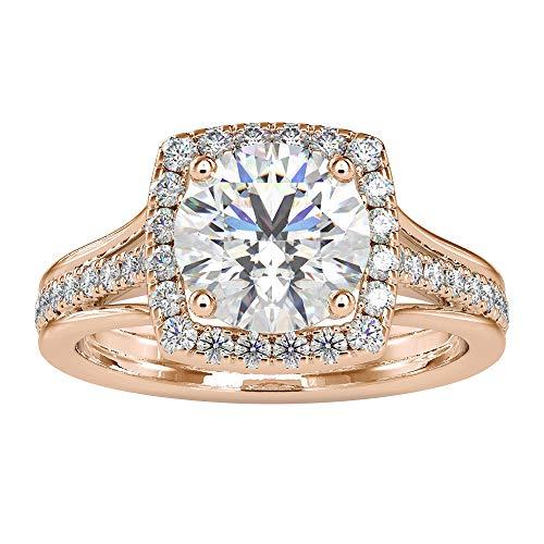 2,50 ct zertifizierter Moissanit Halo Ehering, DE-VS1 Farbe Klarheit Solitär Edelstein Ring, Statement Frauen Versprechen Ring, einzigartiger Jahrestag Ring, 14K Roségold, Size:EU 64