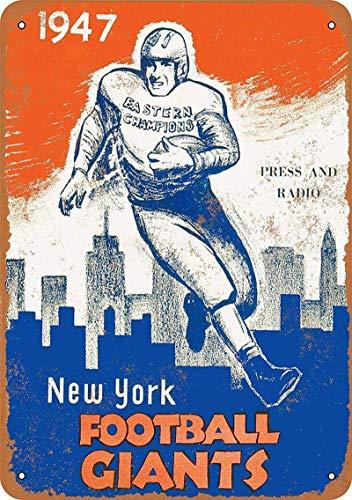 New York Football Giants Carteles de pared de hojalata vintage Pintura sobre hierro Arte retro Advertencia Letrero de metal Decoración para Road Home Store Cafe Bar,20x30cm