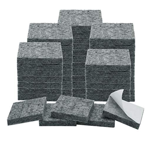Uxcell - Almohadillas de fieltro antideslizantes para muebles cuadrados, antideslizantes, antiarañazos, color gris