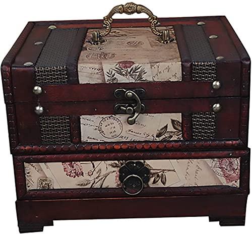 X&Z-XAOY Caja De Aderezo Retro con Espejo Y Cajón, Cajas De Joyería De Madera Maquillaje Joyas De Maquillaje para Almacenamiento De Escombros, Caja De Madera
