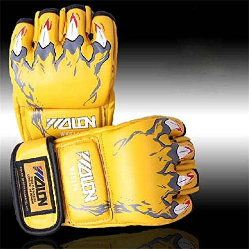 Guantes De Boxeo Muay Thai MMA Sanda Martial Medio Dedo Guante Mujeres Hombres Lucha Saco De Arena Entrenamiento Mitones Luva De Boxe Zzib (Color : Yellow)