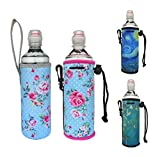 Insulated Neoprene Water Bottle Sleeves Huggie Coozie Carrier Protect for Cooler/Coolie/Cover/Insulator/Coozie/Holder/Huggie/Sleeve for 16.9 oz Water Bottle (Rose/Strap+Hook)