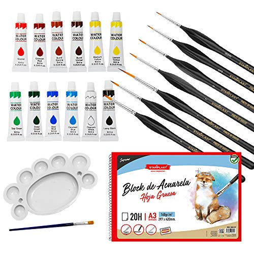 Starplast, Pack Artístico: Bloc de Acuarela A3 + 7 Pinceles + 12 Témperas + Paleta con Pincel, para Manualidades, Pintar, Dibujar, Colorear