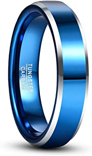 VAKKI 5mm Blue Plated Tungsten Carbide Wedding Ring with Silver Beveled Edge for Men Women Comfort Fit Size 7-12
