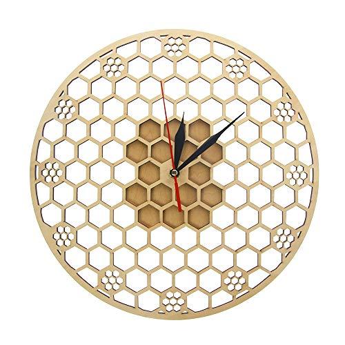 suhang zeshoekige houten wandklok honingraat heilige geometrie kam mandala klok bijenliefhebbers Keeper Room Decor Gift Silent Sweep