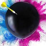 Tds Ballon Révélateur de Genre XXL 90 cm à Poudre colorée Kit Complet pour Baby Shower avec 2 Paquets de Poudre Colorée Rose et Bleu Une fléchette et Bolduc Poudre ECO Friendly bébé Surprise