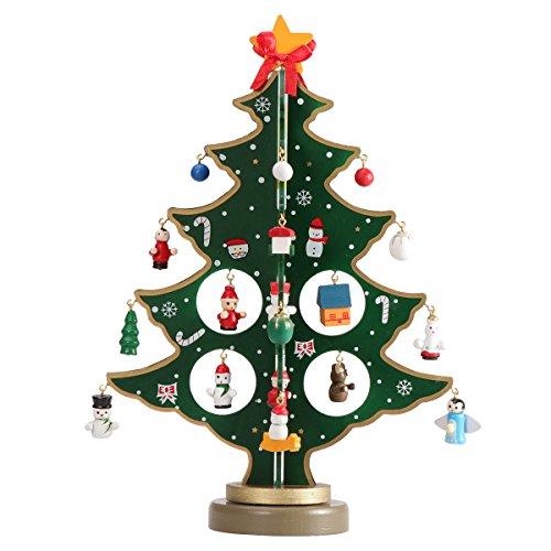 Tinksky Ornamenti di Natale in miniatura Mini albero di Natale in legno da tavolo Decorazione di arti e mestieri Centrotavola Bambini regalo per bambini Insegnante ricompensa Festa di casa Decorazioni per matrimoni 30CM (Verde)