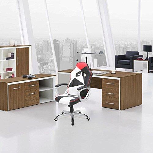 WOLTU® Racing Chaise de Gaming Fauteuil Gaming Chaise de Bureau en Similicuir Hauteur réglable avec mécanisme d'inclinaison,BS07ws-1 Blanc