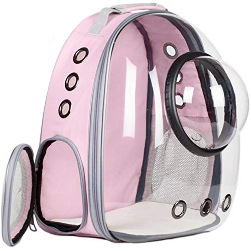 Linwei Breathable Car Bike Window Bubble Cat Dog Travel Carry Bag Transparent Pet Carrier Backpack,Pink,M