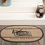VHC Brands Sawyer Mill Plow Graphic/Print Textured Jute Farmhouse Thanksgiving Decor Stenciled Oval Rug, Natural Light Tan
