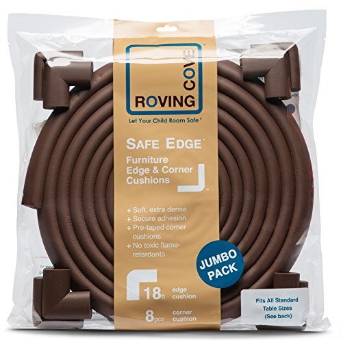 Roving Cove 20.4 ft [18ft Edge + 8 Corners] Safe Edge and Corner Cushion - PRE-TAPED CORNERS; Jumbo COFFEE Premium Childproofing Guard Child Home Furniture Safety Bumper Baby Proof Table Protector
