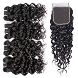 Luxnovolex Brazilian Water Wave Bundles with Closure Wet and Wavy Virgin Curly Human hair 4 Bundles With Lace Middle Part Closure Unprocessed Sew in Human Hair Extension (8 8 8 8 with 8)