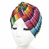 Qhome Women's Rasta Turban Indian Style Head Wrap Cap Hat Hair Cover Headband Various Print Design