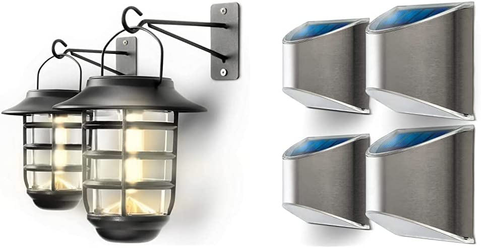 OFFer Home Zone Security Solar New products, world's highest quality popular! Lights Wall 2-Pack Lantern