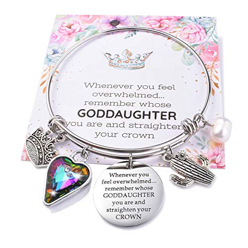 Goddaughter Bracelet Gifts from Godmother Teen Girls Gifts for Christian Goddaughter Godchild Confirmation Charm Bangle from Godfather Godparents Memorial Holy Baptism Jewelry